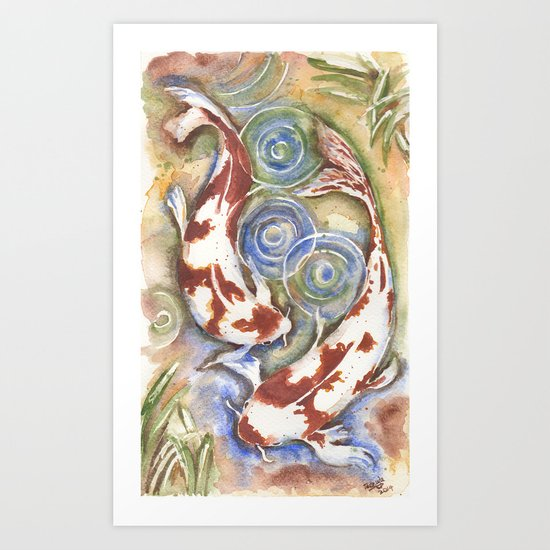 Koi Fish Watercolor Painting Art Print