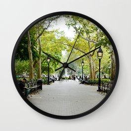 Morning Stroll in the Village Wall Clock