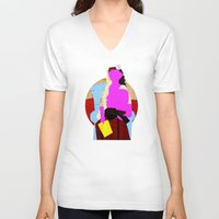 picasso V-neck T-shirts featuring Picasso Woman by Marko Köppe