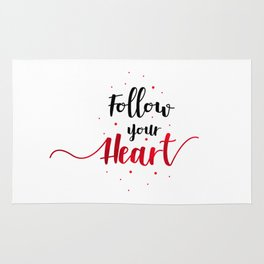 """Hand Lettering Motivational quote """"Follow your heart"""" Rug"""
