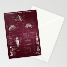 Apollo 11 Saturn V Command Module Blueprint in High Resolution (red) Stationery Cards