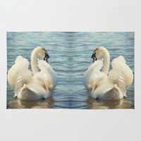 swan Area & Throw Rugs featuring Swan by Svetlana Sewell