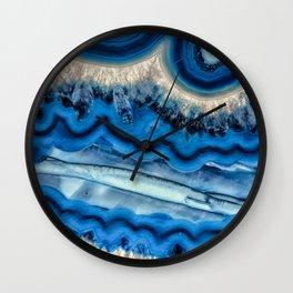 Blue agate slice wave Wall Clock