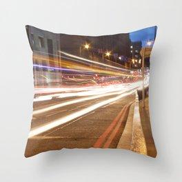 Edinburgh West End light trails Throw Pillow