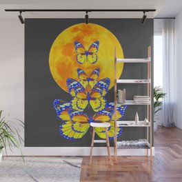 SURREAL BLUE BUTTERFLIES RISING GOLDEN MOON Wall Mural