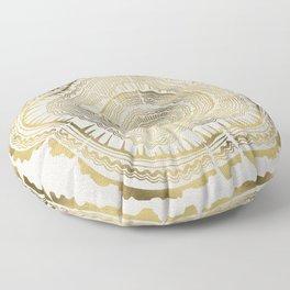 Gold Tree Rings Floor Pillow