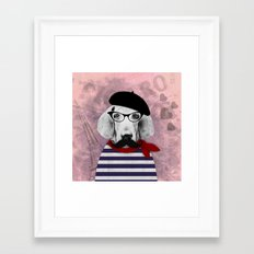 Doggy the Pooh loves Paris! Framed Art Print