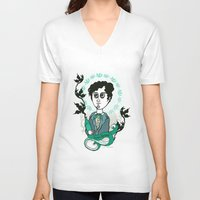 writer V-neck T-shirts featuring Rimbaud Holy Writer by roberto lanznaster