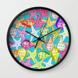 Seashells and sea stars Wall Clock