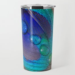 Peacock feather & water droplets Travel Mug