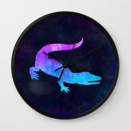 CROCODILE IN SPACE // Animal Graphic Art // Watercolor Canvas Painting // Modern Minimal Cute Wall Clock