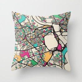Colorful City Maps: Arlington County, Virginia Throw Pillow