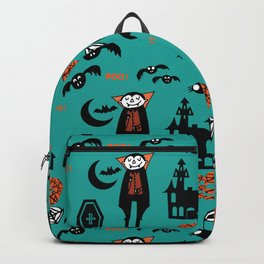 Cute Dracula and friends teal #halloween Backpack