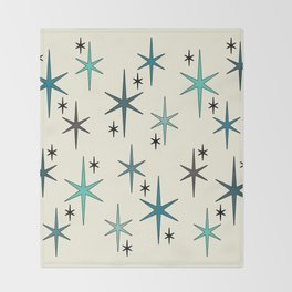 Mid Century Modern Star Sky Turquoise Throw Blanket