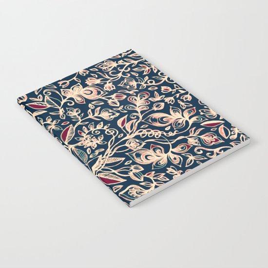 Navy Garden - floral doodle pattern in cream, dark red & blue Notebook