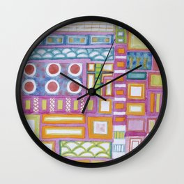 Filled Pink Grid Wall Clock
