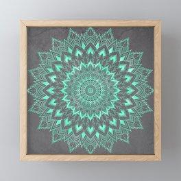 Boho turquoise watercolor floral mandala on grey cement concrete Framed Mini Art Print