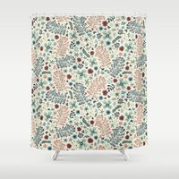flora Shower Curtains featuring Flora by Anna Deegan