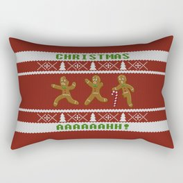Ugly Christmas Sweater Scared Gingerbread Men Red Rectangular Pillow