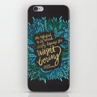 fitzgerald iPhone & iPod Skins featuring Zelda Fitzgerald – Blue on Black by Cat Coquillette
