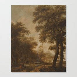Anthonie Waterloo Figures In a Wooded River Landscape; Figures By Buildings In a Classical Landscape Canvas Print