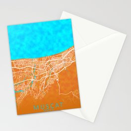 Muscat, Oman, Gold, Blue, City, Map Stationery Cards