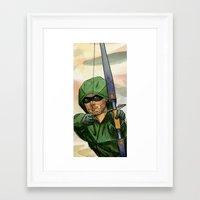 green arrow Framed Art Prints featuring Arrow by Nicole Cuvin