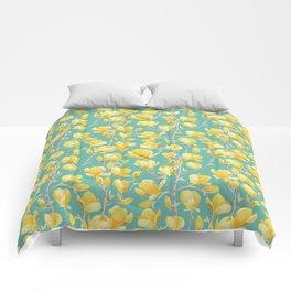 Yellow Magnolia Spring Bloom Comforters