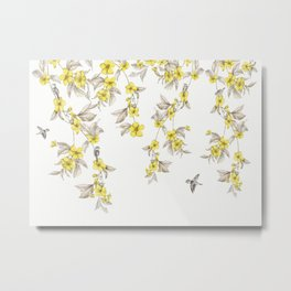 Birds and Cherry blossoms II Metal Print