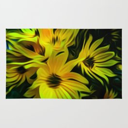 Abstract Yellow Flower Image Rug