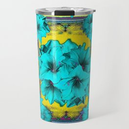 Puce, Turquoise, Mustard Color Geometric Floral Abstract Travel Mug
