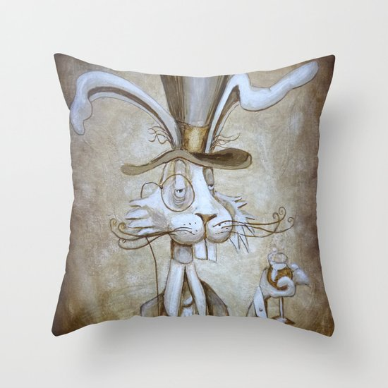 Tim & Jill's Mr. Hasenpfeffer Victorian Style Portrait Throw Pillow