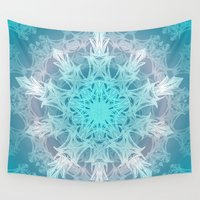 snowflake Wall Tapestries featuring Pastel Snowflake by ArtLovePassion