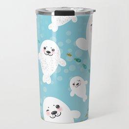 Funny albino white fur seal pups, cute kawaii seals Travel Mug