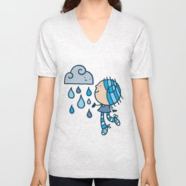Rain Cloud Girl Unisex V-Neck