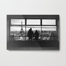 Paris France Window and Couple Looking at the City Black and White Metal Print