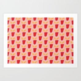 Retro Botanical Mid century Tulip Pink Red Art Print