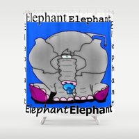 baby elephant Shower Curtains featuring Elephant(Baby) by Vivian Fortunato