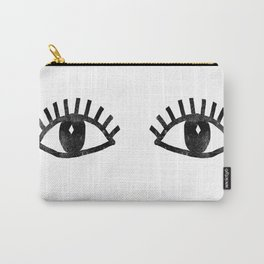 Eyes linocut black and white minimal eyes carving printmaking Carry-All Pouch