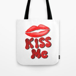 Kiss Me Lipstick Red Lips Tote Bag