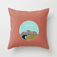 adventure is out there Throw Pillows featuring Adventure by Out There Studio