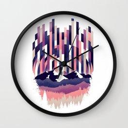Sunrise in Vertical - Winter Purple Wall Clock