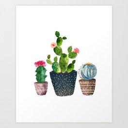 Watercolor cactus trio | hand painted cactus print Art Print