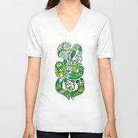 tiki V-neck T-shirts featuring TIKI  by Jun Arita