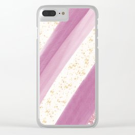 Artsy geometric pink rose gold watercolor gold splatters Clear iPhone Case