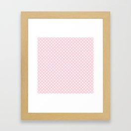 Large White Love Hearts on Soft Pastel Pink Framed Art Print