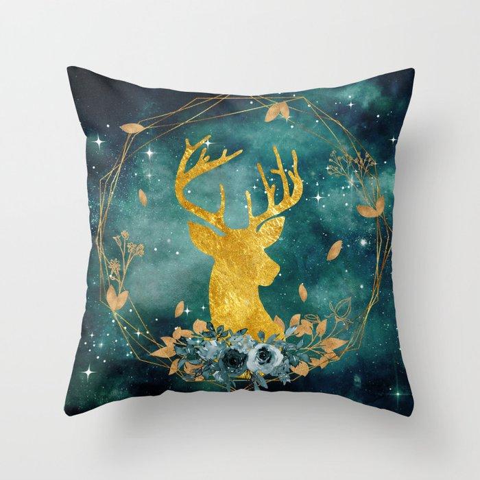 Galaxy Deer Throw Pillow