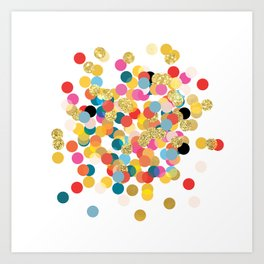 Gold & Colorful Confetti Pattern Art Print