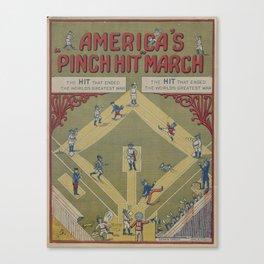 Vintage WWI Baseball Game Cartoon (1919) Canvas Print