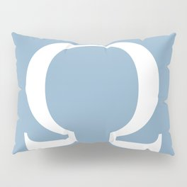Greek letter Omega sign on placid blue background Pillow Sham